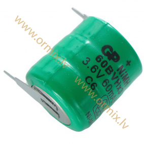 Rechargeable battery nimh 3 6v 60ma 16x18mm 2pin kinetic for Lampen 6v 60ma